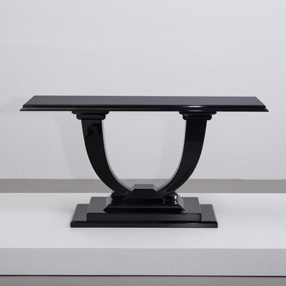 A Karl Springer designed Jet Black Lacquered Console Table 1980s