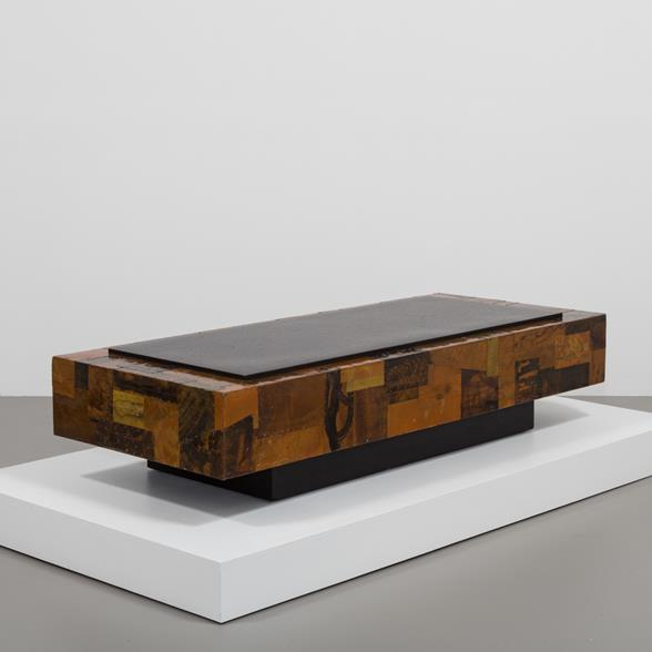 A Lacquered Copper Patchwork Coffee Table 1970s