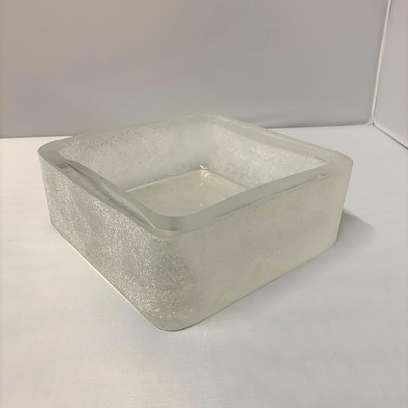 A Large Cenedese Square Scavo Glass Ashtray