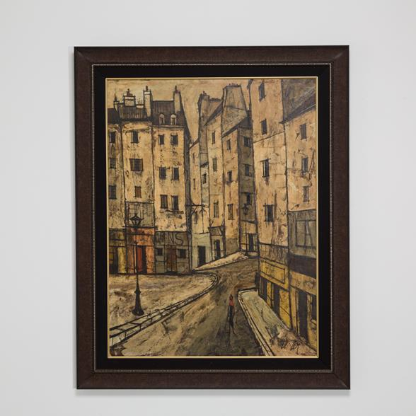 A Large Charles Levier Oil Painting of a Street Scene signed 1959