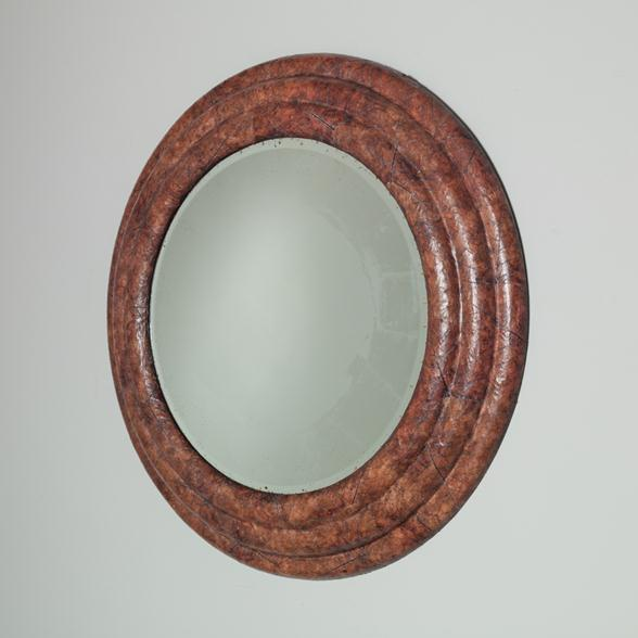 A Large Circular Tobacco Leaf Veneered Mirror 1970s