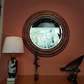 A Large Circular Tobacco Leaf Veneered Mirror 1970s Alternate image