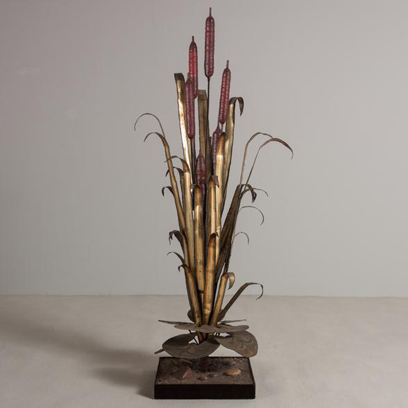 A Large Copper Reed Floor Sculpture 1970s