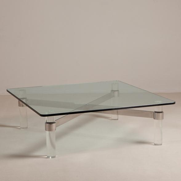 A Large Lucite and Chromium Steel Based Coffee Table 1970s