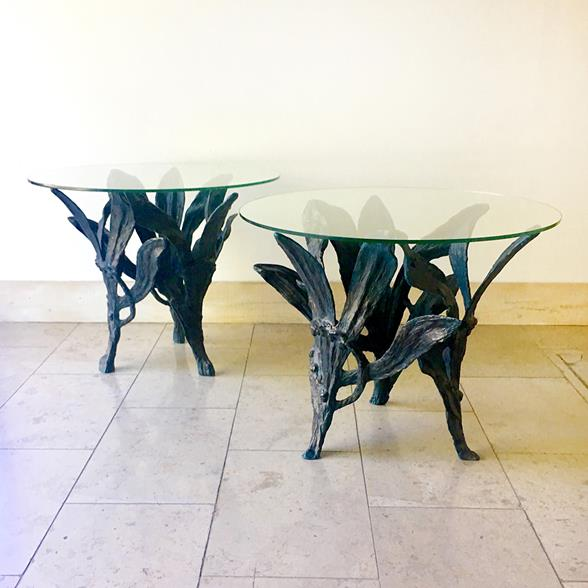 A Large Pair of Patinated Aluminium Side Tables 1960s