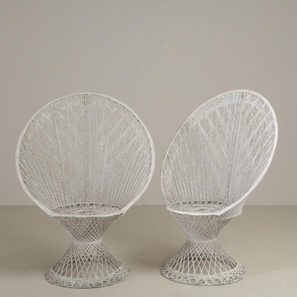 A Large Pair of Spun Resin Fantail Backed Chairs 1960s