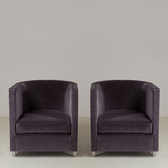 A Large Pair of Steel Framed Upholstered Armchairs Late 1980s