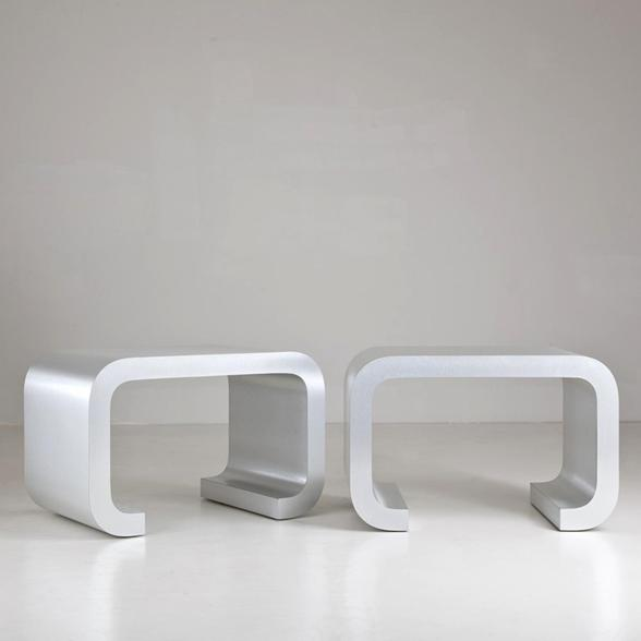 A Large Pair of Waterfall Shaped Side Tables 1980s