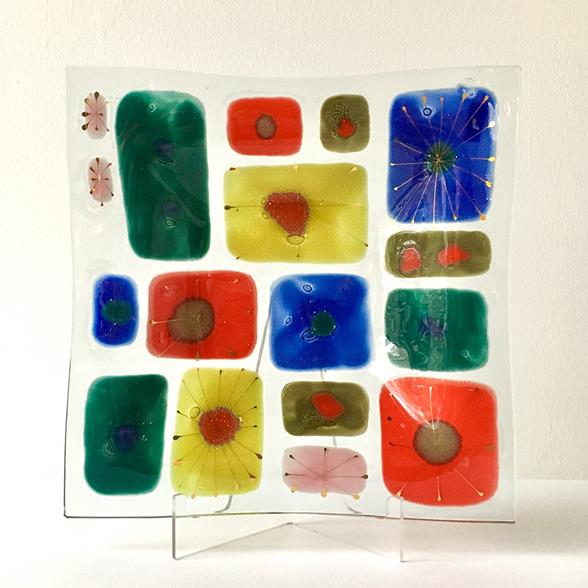 A Large Studio Coral Fused Art Glass Plate by Higgins 1950s