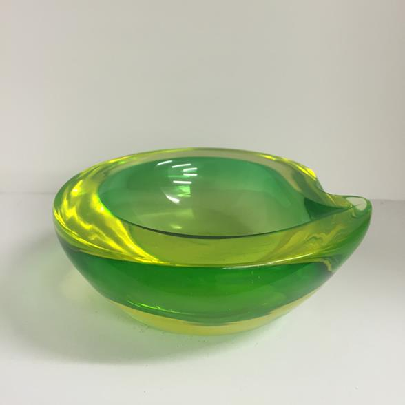 A Luminous Green Tear Shaped Murano Glass Bowl