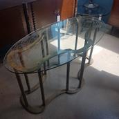 A Mastercraft Brass Framed Ribbon Shaped Console Table 1970s Alternate image