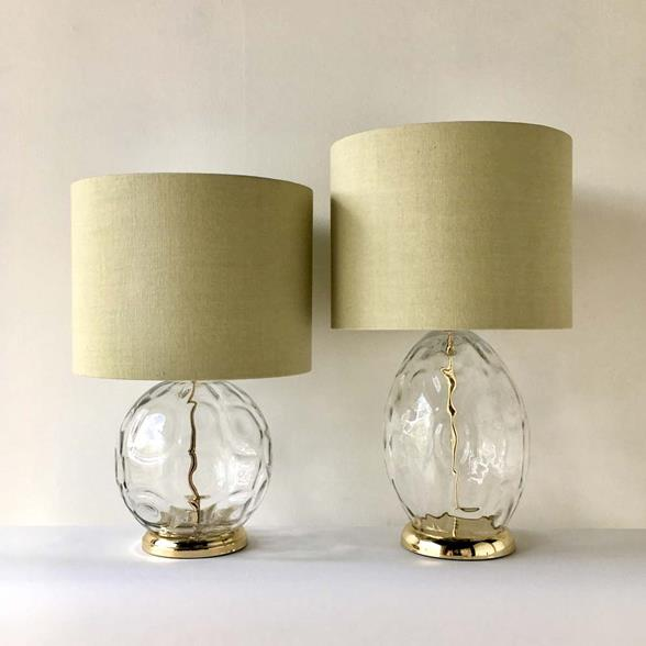 A Matched Pair of Clear Handblown Glass Table Lamps 1960s