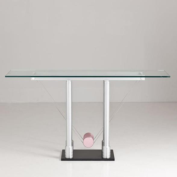 A Memphis Style Brushed Steel Console Table 1980s