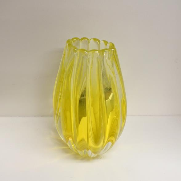 A Murano Glass Vase with a Bright Yellow Centre and Clear Glass base