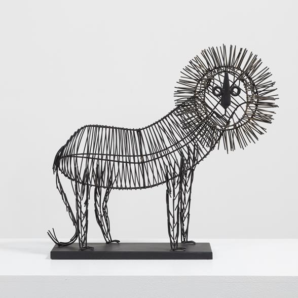 A Naive Wire Table Sculpture of a Lion