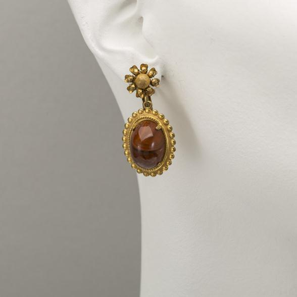 A Pair of Brass Filigree and Bakelite Earrings by Miriam Haskell 1940s