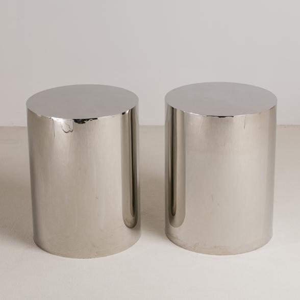 A Pair of Chrome Plated Steel Pedestals/Table Bases 1970s