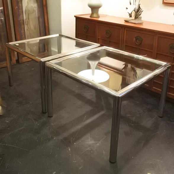 A Pair of Chrome Plated Tubular Side Tables 1960s
