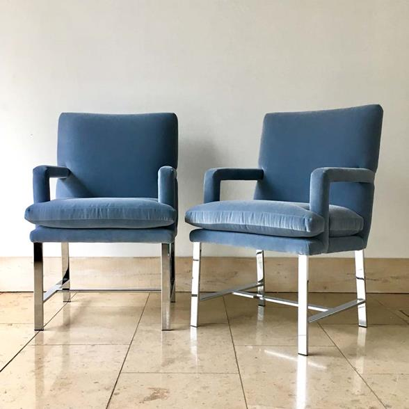 A Pair of Chromium Steel Framed Carver Armchairs late 1970s