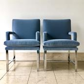 A Pair of Chromium Steel Framed Carver Armchairs late 1970s Alternate image