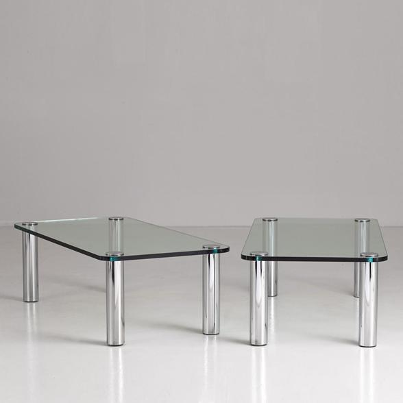 A Pair of Chromium Steel and Glass Coffee Tables 1970s