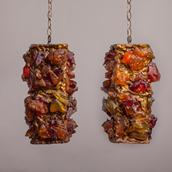 A Pair of Chunky Amber Resin Pendant Lights 1960s main image