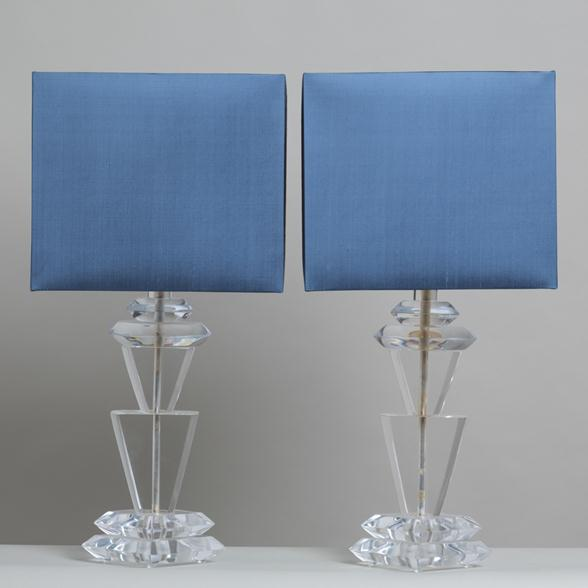 A Pair of Chunky Sculptural Lucite Table Lamps by Van Teal 1970s