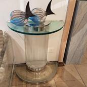 A Pair of Deco Influenced Chromed Steel and Glass Console Tables Alternate image