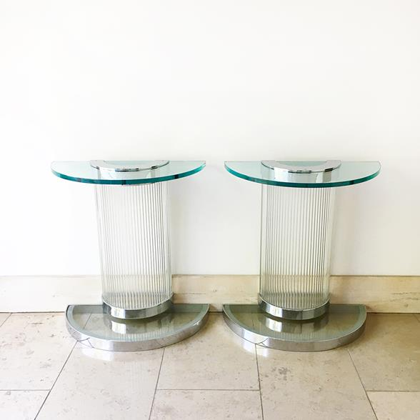 A Pair of Deco Influenced Chromed Steel and Glass Console Tables