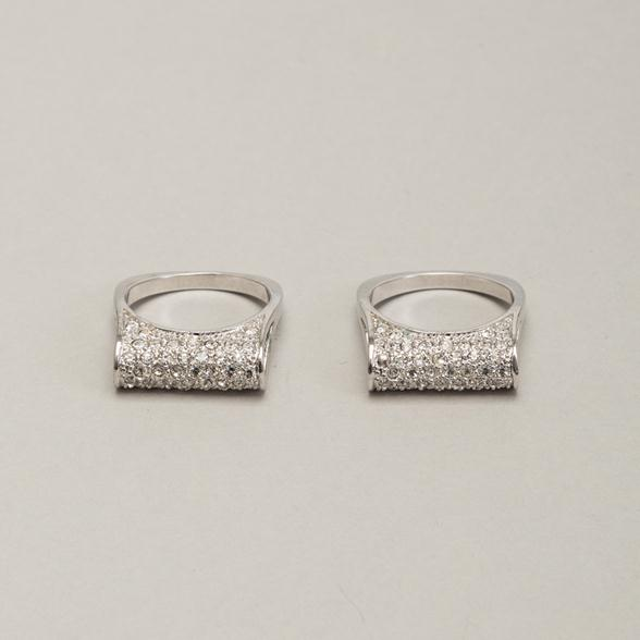 A Pair of Diamante Silvertone Stacking Rings