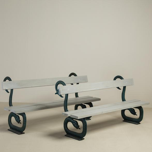 A Pair of English 19th Century Patinated Cast Iron and Wooden Benches