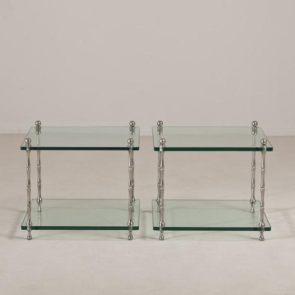A Pair of Faux Bamboo Nickel and Glass Side Tables 1970s