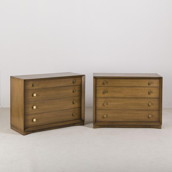 A Pair of Four Drawer Wooden Commodes 1960s