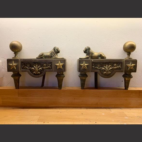 A Pair of French Empire Fire Dogs circa 1820