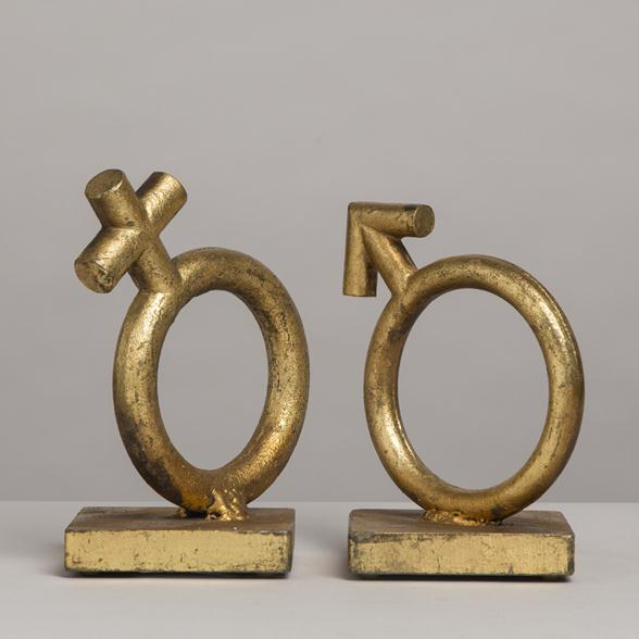 A Pair of Goldleafed Cast Metal Bookends by Curtis Jere