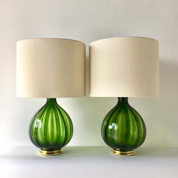 A Pair of Green Blenko designed Handblown Glass Lamps