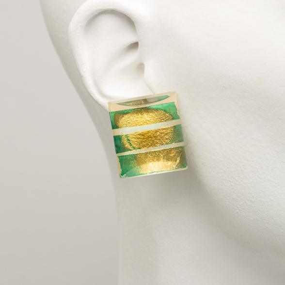 A Pair of Green and Gold Leaf Encased Lucite Earrings