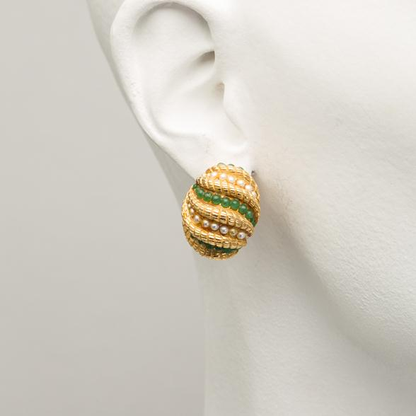 A Pair of Green and Pearl Shell Earrings