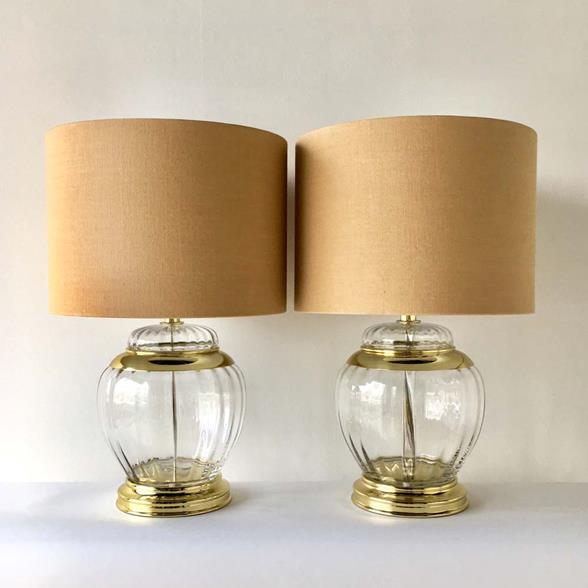 A Pair of Handblown Clear Glass Table Lamps 1960s