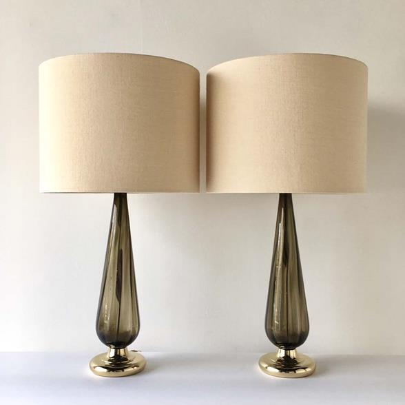 A Pair of Handblown Tinted Glass Lamps by Blenko