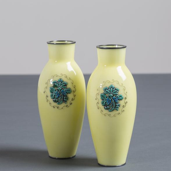 A Pair of Japanese Cloisonné Yellow Enamel Vases by Ando circa 1920