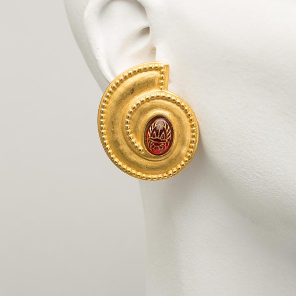 A Pair of Matt Gold Plated Earrings with Red Stone Scarabs