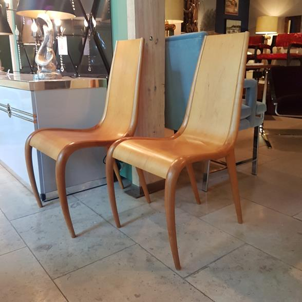 A Pair of Sculptural Bentwood Chairs 1950s