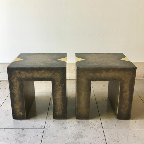 A Pair of Square Bronze Collection Side Tables by Talisman Bespoke
