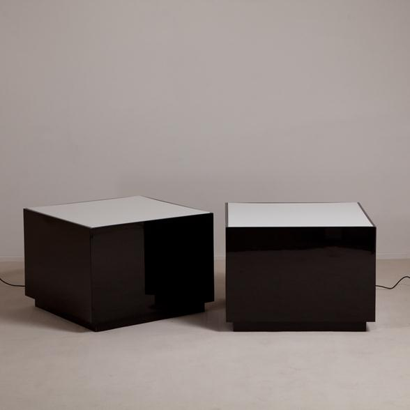 A Pair of Square Jet Black Lacquer Lucite Lightbox Tables 1970s