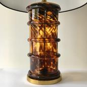 A Pair of Tortoiseshell Effect Glass and Brass Table Lamps 1960s Alternate image