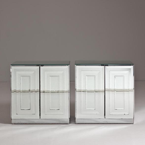 A Pair of Two Door Mirrored Side Cabinets 1970s