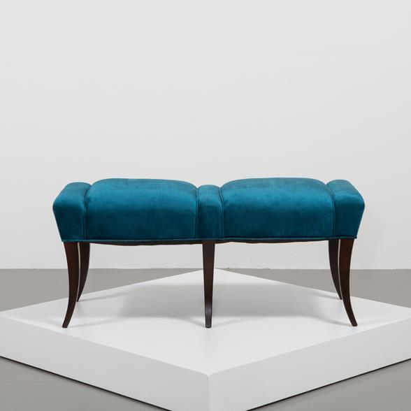 A Pair of Velvet Upholstered Benches in the manner of Parzinger