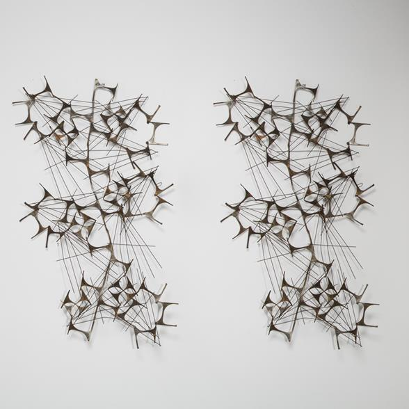 A Pair of Weinstein Abstract Wall Sculptures unsigned circa 1970
