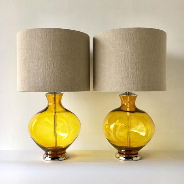A Pair of Yellow Blenko Lamps